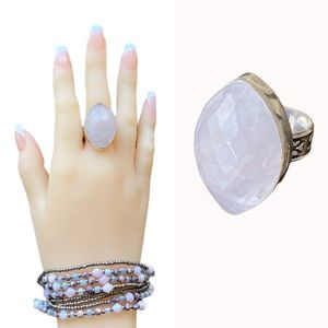 Rose Quartz Ring Size 9.5 Sterling Silver New